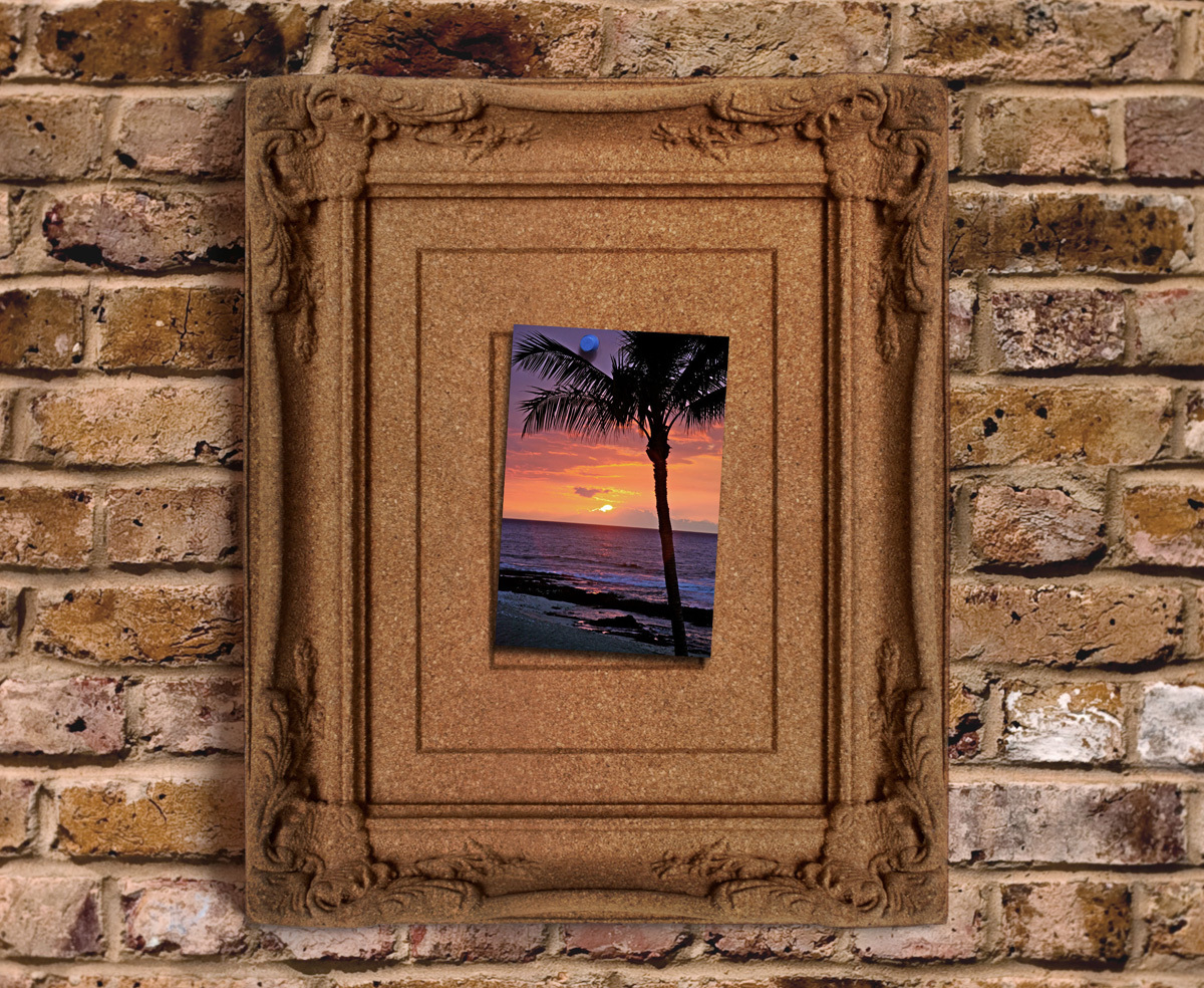 Cork board photo frame